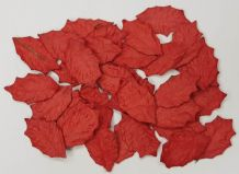 RED HOLLY steamless LEAVES (30mm) Mulberry Paper leaves (2nd's)